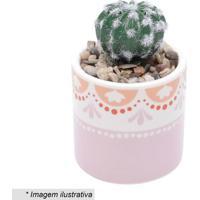 Cachepot Com Planta Artificial Abstrato - Branco & Rosa