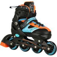 Patins Spin Roller Start New - In Line - Fitness - Abec 7 - Ajustável - Adulto - Preto/Laranja