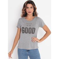 "Blusa Mescla ""Focus On The Good"" Com Bordados - Cinza Clcavalari"