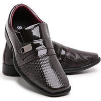 Sapato Social Infantil Menino Bico Quadrado Verniz Dia A Dia - Masculino-Marrom
