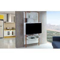 Painel Tv Quarto Branco Home Suspenso Para Tv Até 42 Polegadas Com Rack Karl Woodinn - 99,8X25,5X180 Cm
