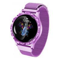 Relógio Smartwatch D18 Com Pulseira De Metal Feminino - Roxo