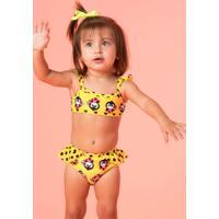 Biquíni Baby Amarelo Com Babados Pinguins Puket