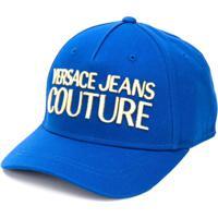 Versace Jeans Couture Boné De Canvas Com Logo Bordado E Botão De Pressão - Azul