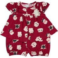 Macacão-Vestido Malha Estampa Digital Gatinhos Ano Zero - Feminino-Vermelho