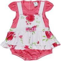 Macacão Infantil Para Bebê Menina - Rosa/Branco
