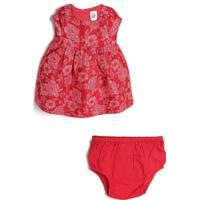 Vestido Gap Infantil Floral Vermelho/Rosa