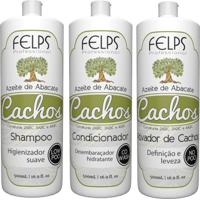 Kit Cachos Azeite De Abacate Felps Shampoo 500Ml+Condicionador 500Ml+Ativador 500Ml - Kanui