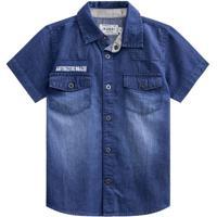 Camisa Jeans Estonada- Azul Escuro- Kids- Mundimundi