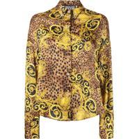 Versace Jeans Couture Camisa Barocco Com Animal Print - Marrom