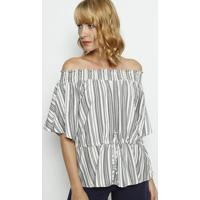 Blusa Ciganinha Listrada - Cinza & Branca- Moiselemoisele