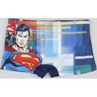 Sunga Boxer Infantil Super Homem Com Proteção Uv50+ Azul Marinho