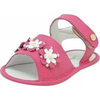 Sandália Infantil Mogly Couro Detalhes Em Flores - Feminino-Pink