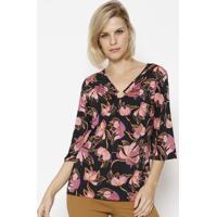 Blusa Floral Com Franzido - Preta & Rosasimple Life