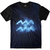 Camiseta Bsc Signos Galáxia Aquário Sublimada Masculina - Masculino-Marinho