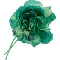 Alessandra Rich Broche De Flor Em Seda - Verde