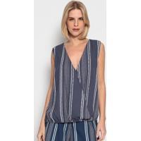 Blusa Listrada Com Transpasse- Azul Escuro & Brancaenna
