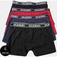 Kit Cueca Boxer Duomo Cotton Elástico 4 Peças - Masculino