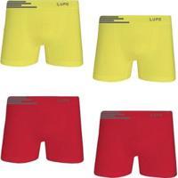 Kit Cueca Lupo Boxer Microfibra Sem Costura 4 Peças Masculina - Masculino-Amarelo+Vermelho