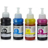 Kit 4 Tinta Para Bulk Ink Epson L355 L210 L555 L110 L200 L1300 T664 Cmyk Compatível De 70Ml