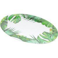 Bandeja Bon Gourmet Melamina Oval Leaves 51X36X2Cm Branco/Verde