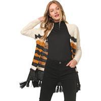 Maxi Cardigan Dress To Tricot Franjas Bege/Preto