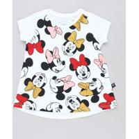 Blusa Infantil Minnie Com Glitter Manga Curta Decote Redondo Branca