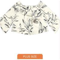 Blusa Feminina Ciganinha Floral Bege