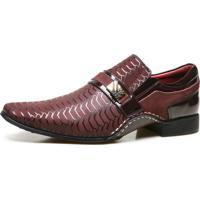 Sapato Social Artesanal Calvest Em Couro Com Textura Bordô