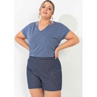 Blusa Azul Com Recorte Vazado Plus Size