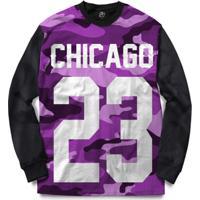 Blusa Bsc Chicago 23 Purple Camo Full Print - Masculino-Preto