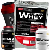 Kit Whey Protein 500G Chocolate Bcaa 4,5G 100G 100% Creatine 100G Coqueteleira – Bodybuilders