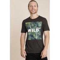"Camiseta Masculina Bbb ""Wild"" Folhagem Manga Curta Gola Careca Cinza Mescla Escuro"