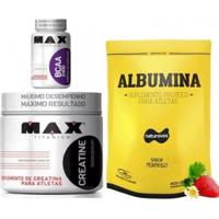 Kit Albumina Naturovos + Bcaa 60 Cps + Creatina 100G Max Titanium - Unissex