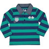 Polo Listrada Com Patch- Azul Marinho & Verde ÁGuatip Top