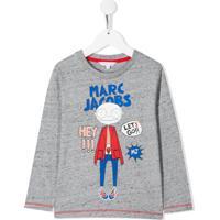 Little Marc Jacobs Camiseta Miss Marc Mangas Longas - Cinza