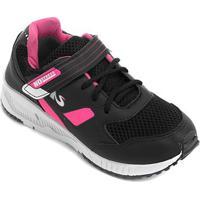 Tênis Infantil No Stress Velcro - Feminino-Preto+Pink