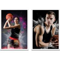 Quadro Oppen House 60X80Cm Esporte Duo Basquete Jogadores E Bola Moldura Branca Com Vidro