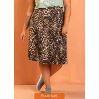 Saia Fenda Lateral Jaguar Plus Size Preto