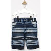 Bermuda Jeans Listrada Com Tag- Azul Escuro & Azul Clarolook Jeans