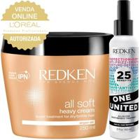 Redken One United + Soft Heavy Cream - Leave-In + Máscara De Hidratação Kit - Unissex-Incolor