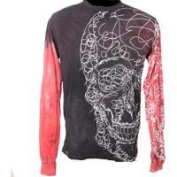 Camiseta Manga Longa Macchina Lab Desenho Skull Double Collor
