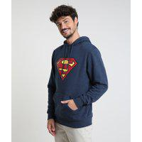 Blusão Masculino Super Homem Em Moletom Com Capuz Azul Escuro