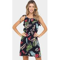 Vestido Lily Fashion Evasê Curto Estampado - Feminino-Marinho+Vermelho