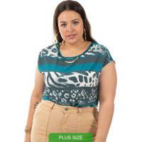 Blusa Com Estampa Animal Print Verde Cativa Mais
