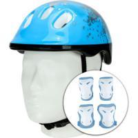 Kit Proteção Para Bike Spin Radical Com 1 Par De: Joelheiras + Cotoveleiras + 1 Capacete - Infantil - Azul