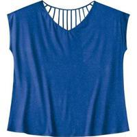 Blusa Viscose Botonê Wee! Plus Size - Feminino-Azul