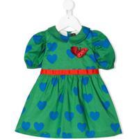 Mini Rodini Vestido Com Estampa De Corações - Verde