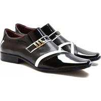 Sapato Social Gofer Couro Verniz Bico Fino Macio Masculino - Masculino-Preto+Branco