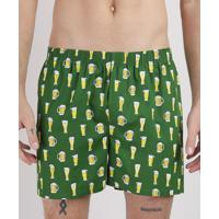 Samba Canção Masculino Estampada Copos De Cerveja Cós Com Elástico Verde